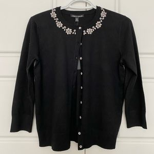 Black Cardigan with Crystal Detail
